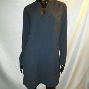 Black MADEWELL long sleeve Vneck shift dress Sz S